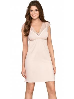 babella kremowa koszulka damska nocna z koronkowymi ramiączkami i dekoltem bielizna o długości przed kolano rachela