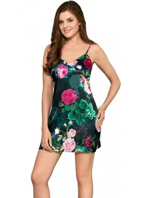 babella poppy kwiecista koszulka damska satynowa na ramiączkach długość do połowy uda