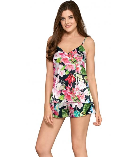 babella pamela satynowa piżama damska dwuczęściowa w kwieciste wzory góra na cienkich ramiączkach spodenki krótkie na gumce
