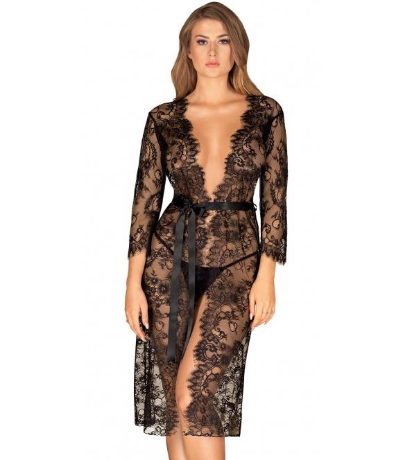 peniuar szlafrok damski długi obsessive lashy czarny wiązany w talii
