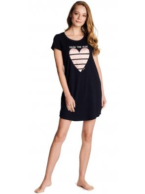 czarna koszula nocna z sercem na piersiach henderson ladies winnona krótki rękaw długość do połowy uda