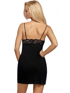 donna koszulka nocna damska czarna z koronkowymi miseczkami koronkowy pas na plecach regulowane ramiączka lulu