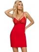 gorąca czerwona koszulka nocna damska z koronkowymi miseczkami cyrkonią i kokardką regulowane cieńkie ramiączka donna lulu