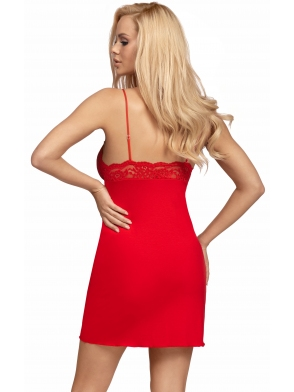 seksowna koszulka nocna ognisto czerwona rozpalająca zmysły koronkowe miseczki z cyrkonią donna lulu