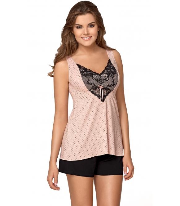 pudrowo różowa piżama damska na ramiączkach krótkie spodenki donna paulina