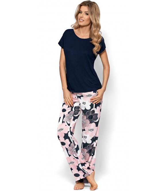 nipplex bianca dwuczęściowa piżama damska z długimi spodniami o kwiecistym wzorze koszulka czarna z krótkim rękawem