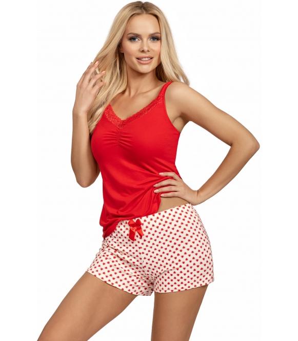 donna piżama damska z aplikacją małych serduszek na jasnych krótkich spodenkach koszulka czerwona na ramiączkach ester