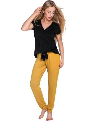 piżama damska ze spodniami w kolorze musztardowym długie koszulka czarna z krótkim rękawem dekolt v sensis sophie