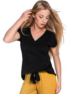 bielizna nocna piżama damska dwuczęściowa koszulka czarna krótki rękaw spodnie do kostek kolor musztardowy sensis