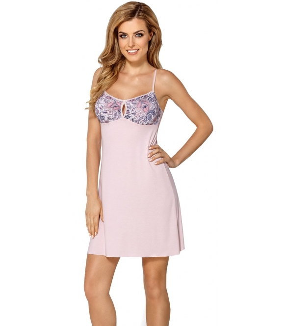 jasno różowa koszulka damska nocna na ramiączka z błękitnym wzorem kwiatowym na miseczkach nipplex valentina