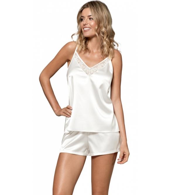 satynowa dwuczęściowa piżama damska na ramiączkach kolor ecru koronkowy dekolt spodenki luźne krótkie nipplex