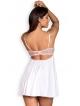 komplet bielizny damskiej seksownej babydoll koszulka damska ecru z koronkowymi elementami i stringi koronkowe obsessive