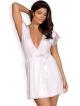 satynowy szlafrok peniuar i stringi dwuczęściowy komplet bielizny damskiej w kolorze ecru obsessive girlly