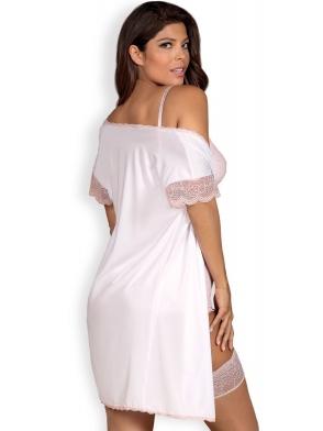 satynowy dwuczęściowy komplet bielizny damskiej wiązany szlafrok peniuar ecru i stringi obsessive