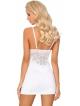 seksowna biała koszulka damska nocna z miseczkami koronkowymi push up w komplecie stringi livco corsetti dolorsan