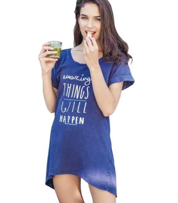 koszula nocna z krótkim rękawem i mankietami granatowa krótka modny nadruk firma key