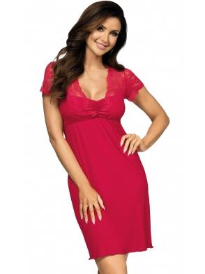 donna koszulka nocna z koronkowym krótkim rękawem i dekoltem odcięcie pod biustem podkreślające talię kasiya wineberry