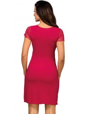 donna koszula nocna krótki koronkowy rękaw i lekko powiększony dekolt długość do połowy uda kasiya wineberry