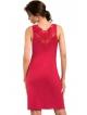 czerwona bielizna nocna koszulka z koronkowym biustonoszem rękaw 3/4 długości gładka pod biustem długość przed kolana donna
