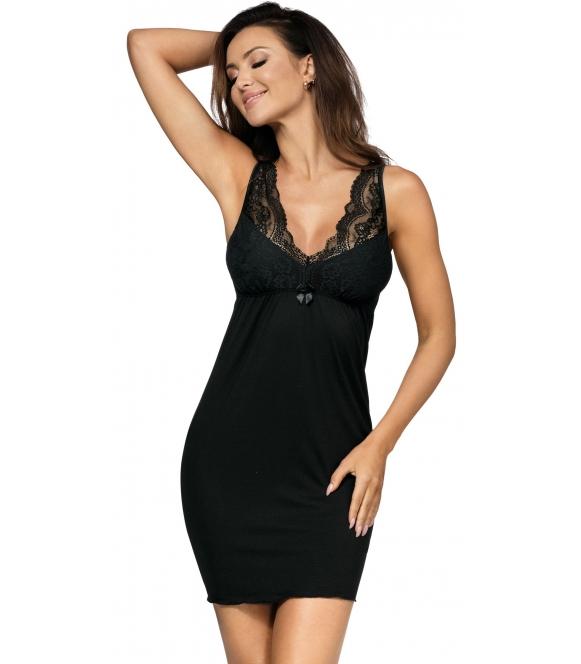 efektowna koszulka nocna z ażurowymi szerokimi ramiączkami i dekoltem długość do połowy uda lekkie marszczenie pod biustem