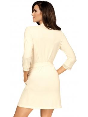 wiskozowy szlafrok damski z koronkowymi rękawami 3/4 wiązany w talii kieszenie po bokach długość przed kolana