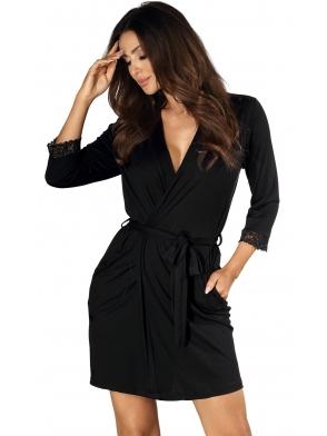 czarny szlafrok damski z koronkowym zakończeniem rękawów wiązany w talii z kieszeniami długi do połowy uda