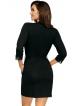 elegancki czarny szlafrok damski wiskozowy z rękawami 3/4 wiązany w pasie kieszenie po bokach długi do połowy uda
