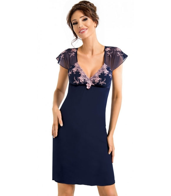 koszula nocna z haftowanymi rękawami dekoltem i biustonoszem kolor granatowy długość przed kolana firma donna