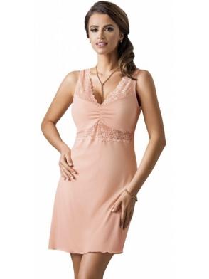 brzoskwiniowa koszula nocna na koronkowych ramiączkach długość do połowy uda donna viola