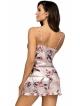 piżama damska perłowo różowa atrakcyjne motywy egzotycznych roślin cienkie ramiączka krótkie spodenki