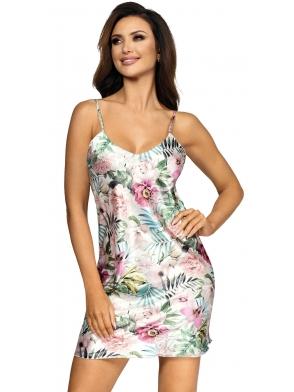 koszulka nocna satynowa z roślinnymi kolorowymi wzorami perłowo satynowa na ramiączkach długość do połowy uda