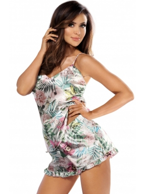piżama damska z perłowej satyny z kolorowymi aplikacjami kwiatowymi ramiączka regulowane krótkie spodenki z satynową falbanką