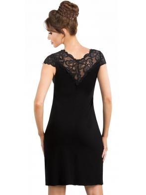 koszulka nocna koronkowe ramiona i dekolt motyw dużych kwiatów czarna koronka na plecach donna romina
