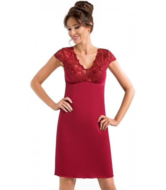 burgundowa koszulka nocna bielizna damska z koronkowymi kwiecistymi haftami na ramionach i dekolcie długa do połowy uda