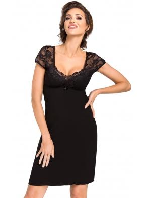 czarna wiskozowa koszulka nocna z koronkowymi rękawami dekoltem i plecami długość przed kolano