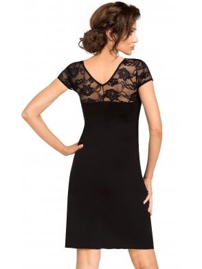 czarna bielizna nocna seksowna koszulka z koronkowym dekoltem plecami i krótkim rękawem odcięta pod biustem tasiemką