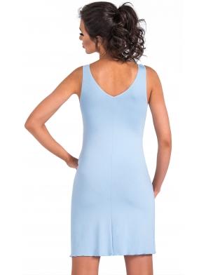 błękitna bielizna nocna koszulka z wiskozy i ażurowej koronki szerokie ramiączka długa przed kolano donna