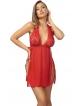 czerwony komplet bielizny damskiej seksowny koszulka i stringi koronkowe anais