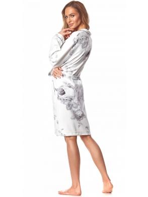 szlafrok damski z weluru biały z motywami kwiatowymi wiązany w talii długi rękaw długość do kolan