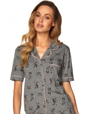 dwuczęściowa piżama damska szary melanż z nadrukiem piesków koszulka na guziczki krótki rękaw krótkie spodenki wiązane