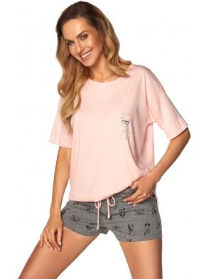 piżama damska szary melange z różem dwuczęściowa koszulka krótki rękaw spodenki krótkie wiązane w pasie tasiemką