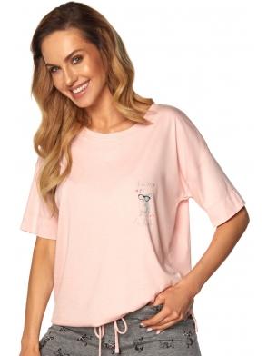 koszulka różowa z aplikacją pieska na piersi i spodenki krótkie szary melange z nadrukiem piżama dwuczęściowa damska