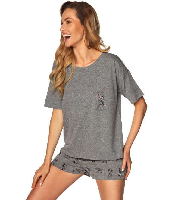 piżama damska krótka szary melange z nadrukiem piesków koszulka z krótkim rękawem krótkie spodenki wiązane w pasie