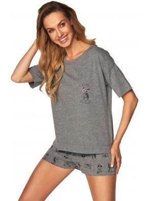 dwuczęściowa piżamka szary melange krótkie spodenki z wzorkiem piesków koszulka z krótkim rękawem rossli