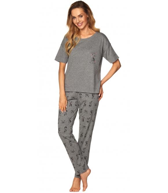 piżama damska z długimi spodniami i koszulką z krótkim rękawem kolor szary melanż nadruk piesków