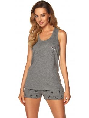 piżama damska na ramiączkach szary melange krótkie szare spodenki z motywem piesków rossli emily