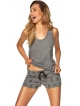 krótka piżama damska melange szary na szerokich ramiączkach krótkie szorty wiązane w pasie nadruk piesków