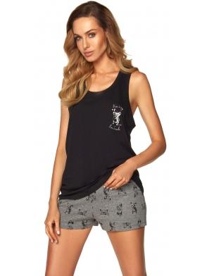 czarno szara piżama damska z motywem piesków na materiale szerokie ramiączka spodenki krótkie