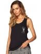 dwuczęściowa czarno szara piżama damska z motywem piesków na spodenkach szerokie ramiączka szorty z gumką krótkie