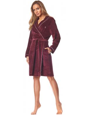 bordowy szlafrok damski z jasną lamówką wiązany długość przed kolana l&l love